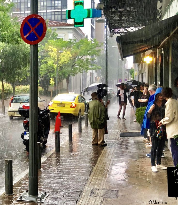 Rainy day at Mitropoleos street,Athens,Greece