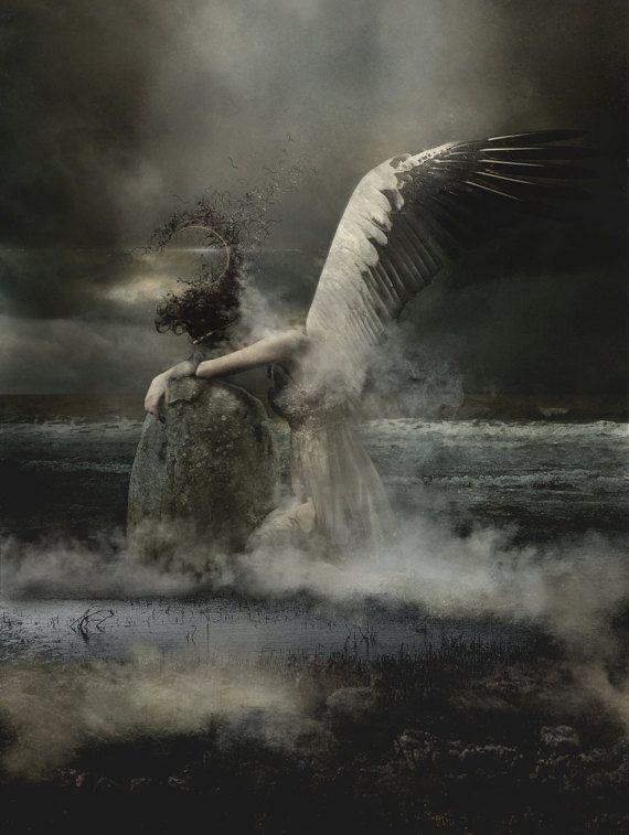 Canvas Giclée print Moon Magick Angel Gothic Fine