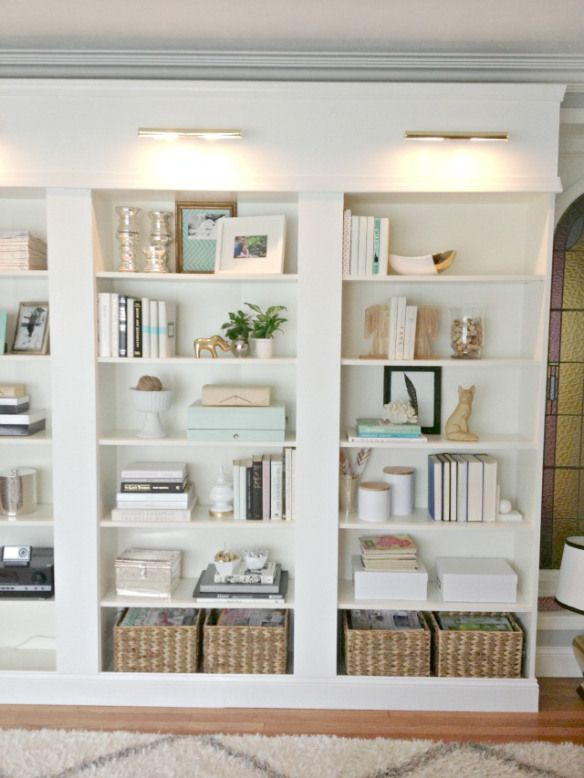 Bookcases styled for a Better Homes and Gardens Magazine Shoot. Made with bookshelves from Ikea.