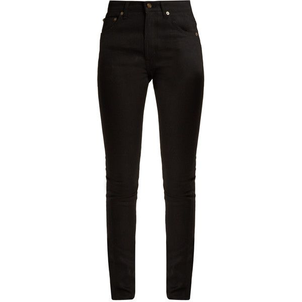 Saint Laurent Mid-rise skinny jeans (€420) ❤ liked on Polyvore featuring jeans, pants, calças, black, mid rise jeans, super stretch jeans, stretch denim skinny jeans, stretch jeans and metallic jeans