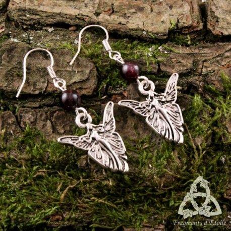 bijou boucles d'oreilles elfique Faerie fée elfe grenat pierre gemme rouge foncé  argenté médiéval féerique magie païen ésotérisme mariage cadeau noël féerique