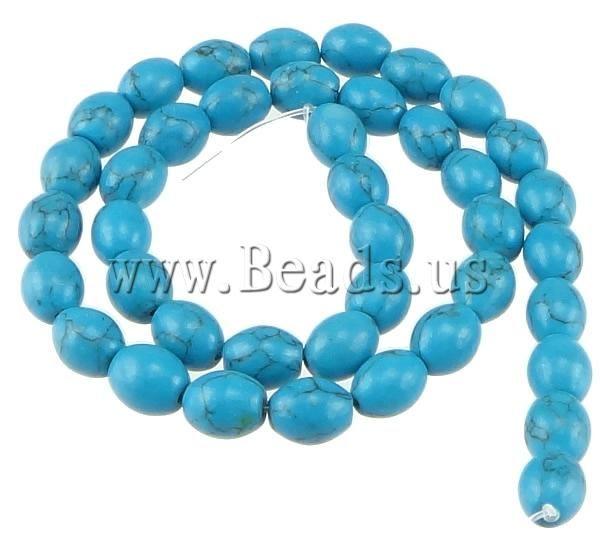 Приблизительно 15.5 Дюймов Китайский Ювелирные Изделия Природные Бирюзовый Овальный синий 9.50x8 мм Отверстие: приблизительно 1 мм Бирюзовые Бусы