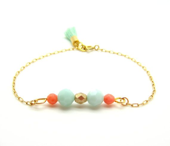 Mint and Coral Beaded Bracelet - Pastel SWAROVSKI Faceted Crystal Beads Charms on Delicate Gold Chain & Mint Tassel