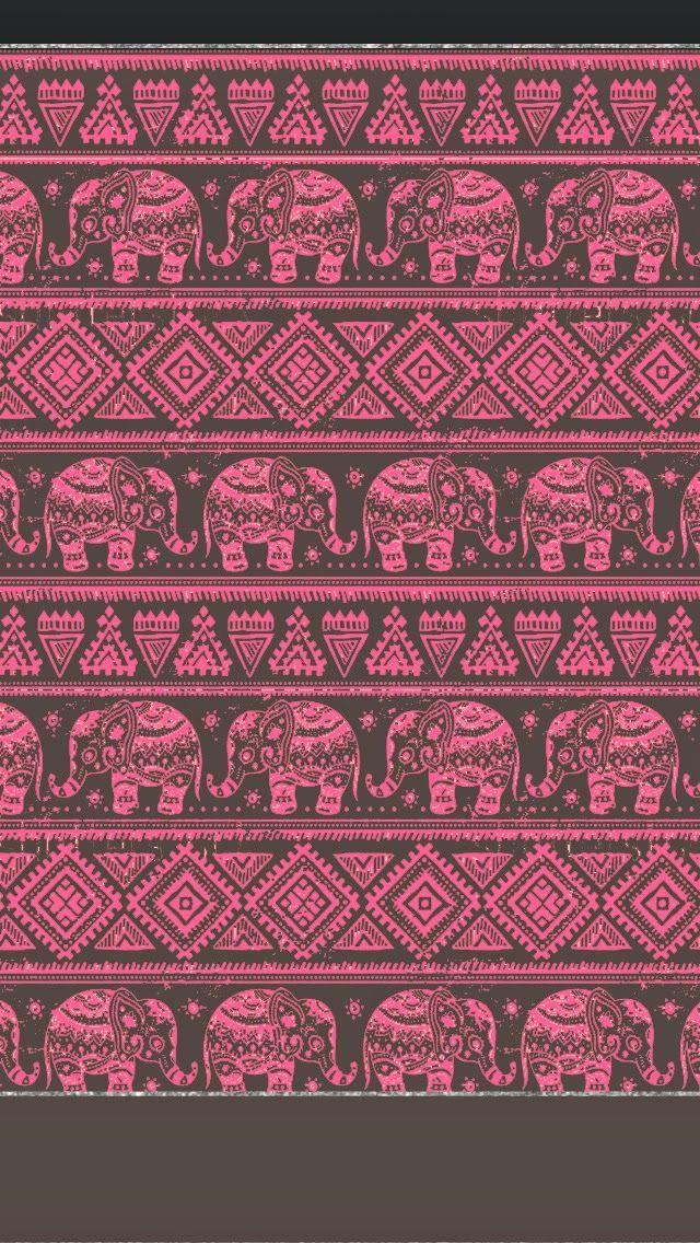 American Hippie Art Pattern Design Wallpaper IPhone Indian Elephants