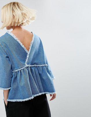 ASOS DENIM SMOCK TOP WITH WRAP BACK IN VINTAGE WASH #stye #fashion #trend #onlineshop #shoptagr