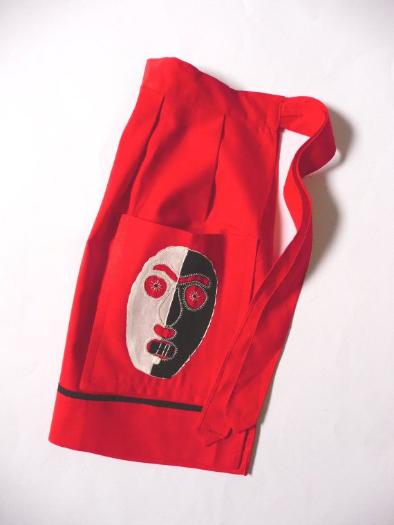 Vintage New Red Embroidered Apron Tribal Mask Appliqued Cotton