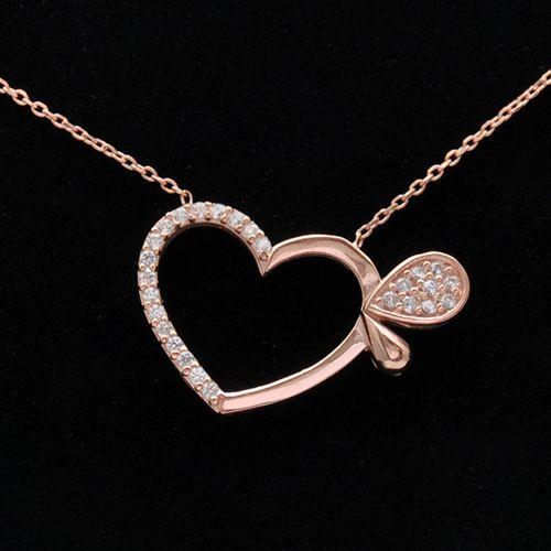 #love #necklace #heart #jewelry / Lant cu pandantiv din argint roz in forma de inima doar pe www.silverbox.ro