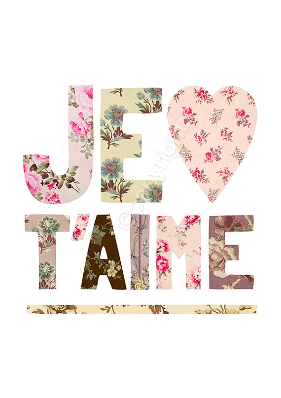 Je T'aime I Love You in French Print featuring by theloveshop