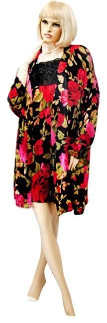 Multi Color Black Red Rose Floral Print Silk Charmeuse Robe & G Mid-length Night Out Dress Size 10 (M). Free shipping and guaranteed authenticity on Multi Color Black Red Rose Floral Print Silk Charmeuse Robe & G Mid-length Night Out Dress Size 10 (M)THIS IS A BEAUTIFUL SILK CHARMEUSE NIGHTGOWN AND R...
