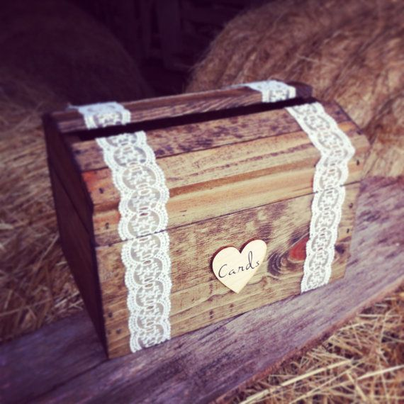 """I want to make something similiar to this. Old wood box, lace duct tape, and small wooden heart that says """"Cards"""" - easy enough."""