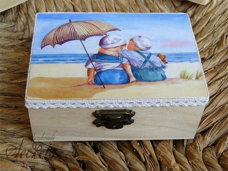 Μπομπονιέρα βάπτισης για διδυμάκια ξύλινο κουτάκι vintage