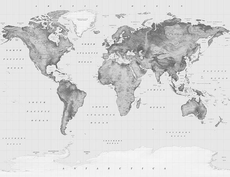 Black and White Atlas World Map | World Map Wallpaper ...