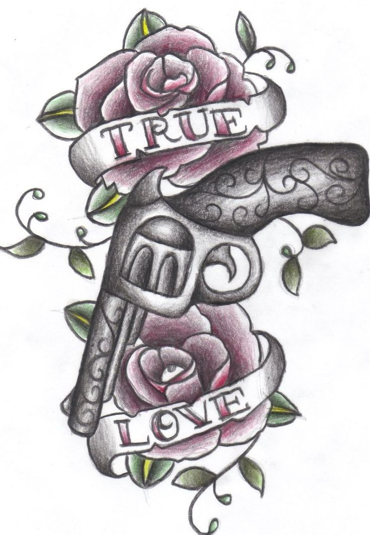 Revolver Tattoo Drawing | gun and roses by greenday75