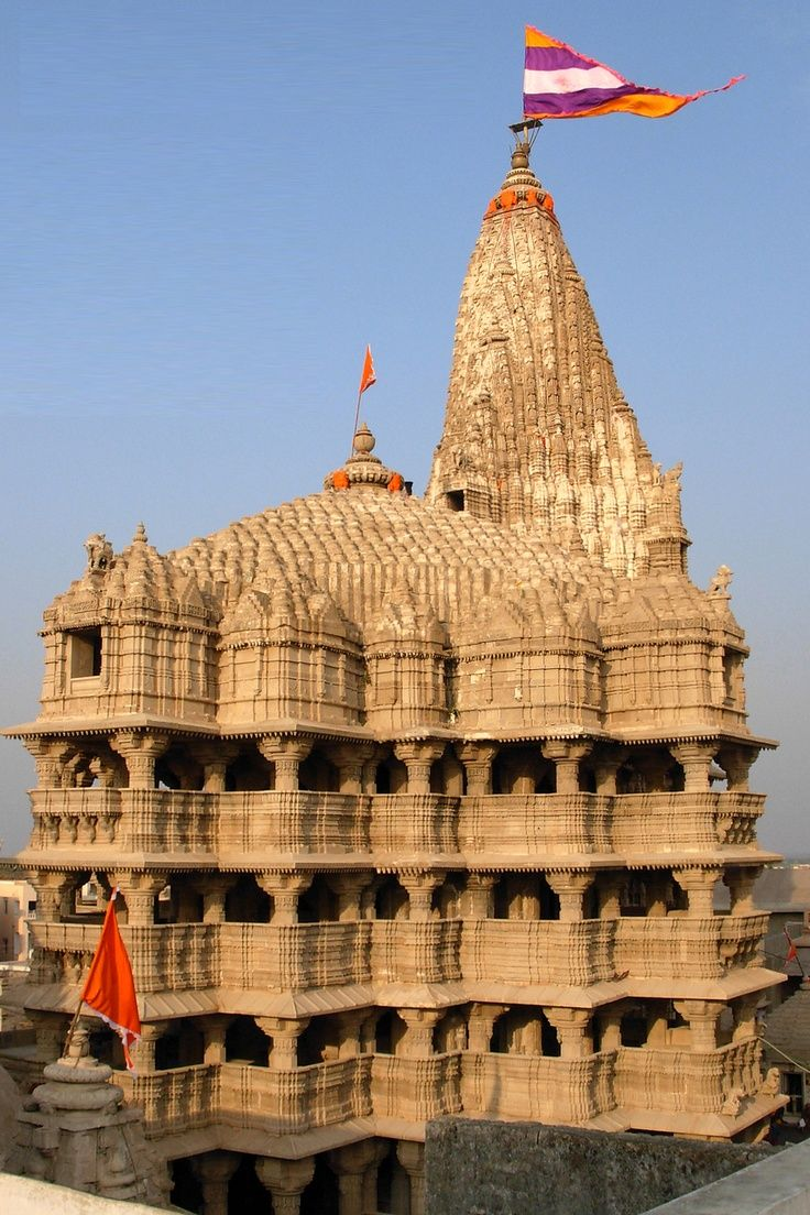 """Dwaraka temple, Gujarat. """"The purpose of building very high temples is to give people a chance to see them from a distant place."""" -SB 3.1.23p"""
