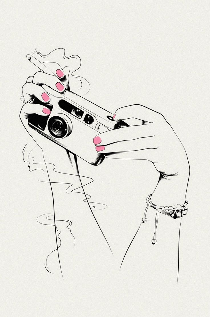 line drawing of hands holding camera and cigarette with
