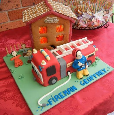 Fireman Sam cake with fire engine and house on fire. Created by Precious Gems Cakes Cupcakes Cookies - 0411 176 533