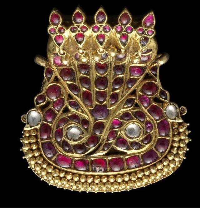 A Diamond & Ruby-set Gold Pendant -- South India -- 19th Century -- Via Bonham's
