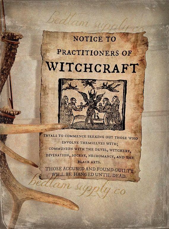 1692 Hexenprozesse beachten von BedlamSupplyCo auf Etsy, $6.00