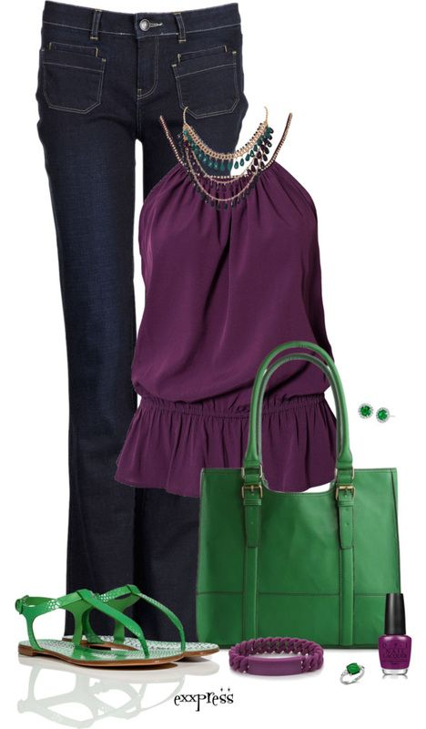 Outfit: Colors Combos, Color Combos, Style, Jeans Outfits, Green Outfits, Clothing, Fashionista Trends, Purple Tops, Date Night Outfits