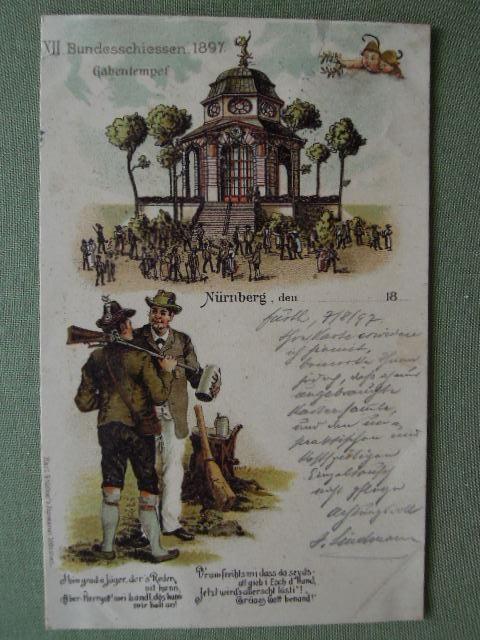 Nürnberg - Bundesschiessen 1897 Gabentempel.: München, Karl Stücker s Kunstanstalt, gelaufen . - Antiquariat Klaus Altschäfl