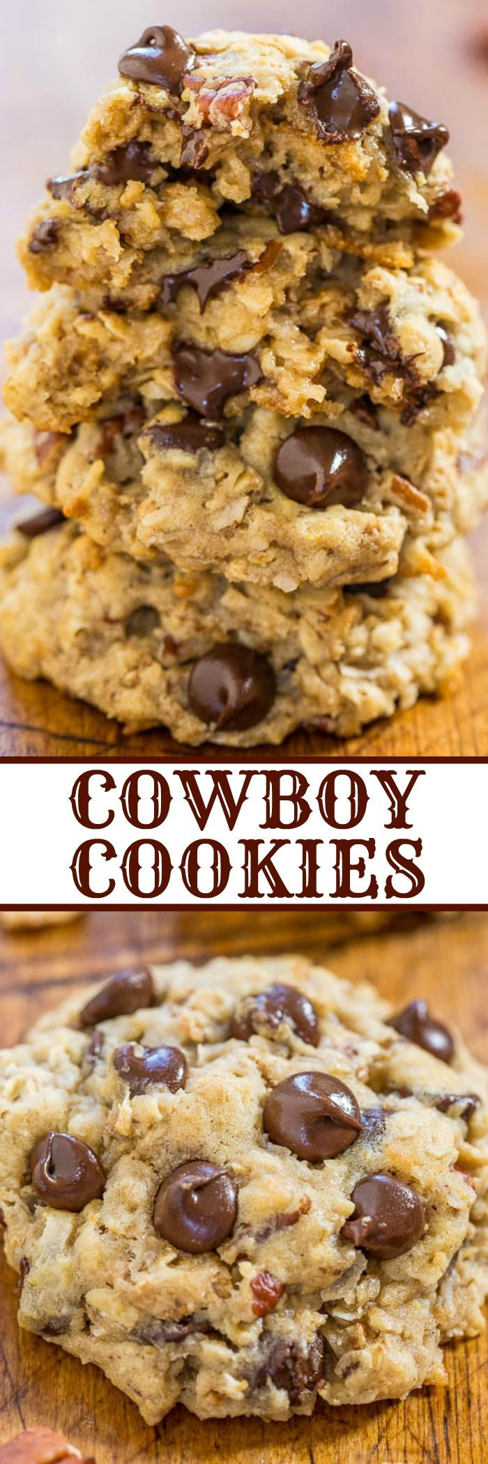 Cowboy Cookies - Chewy oats, sweet coconut, crunchy pecans, and plenty of chocolate! Hearty with tons of texture and they stay soft and chewy!! Everyone (not just cowboys) loves these cookies!: