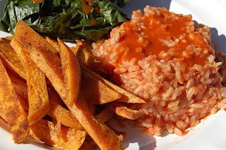rustic yam fries and Charleston red rice.  Two wins!  (Image from veganyogini.blogspot.com)