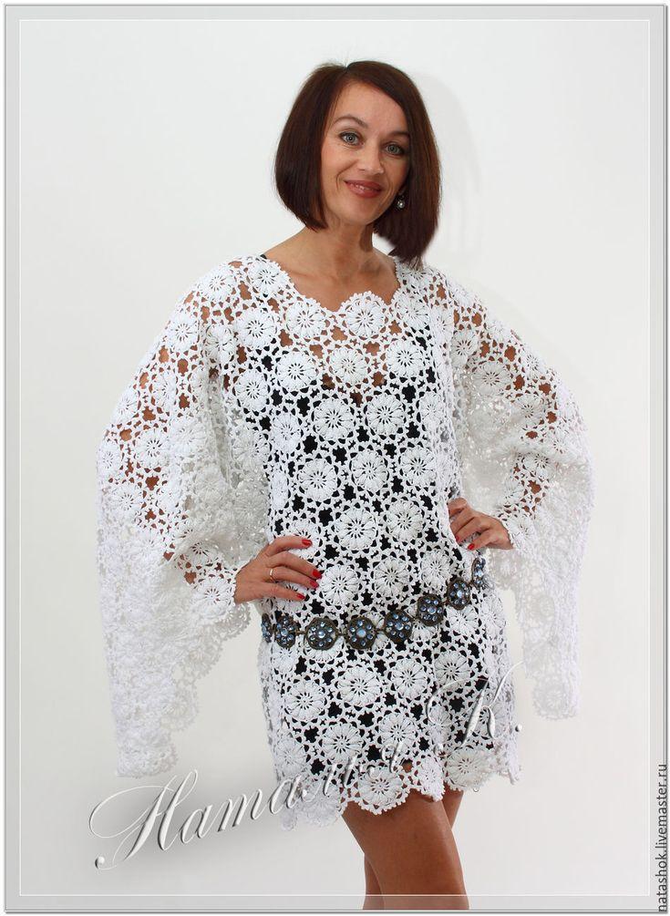 Купить Кружевная туника - белый, кружево, кружева, кружево ручной работы, кружевное платье, туника