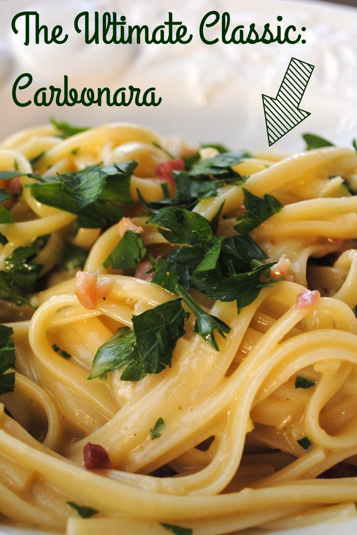 """*The best* Carbonara ever: http://www.rachaelray.com/recipe.php?recipe_id=5916 Pro tip from Rachael: """"Many recipes for carbonara include cream, but I never add cream. The creamy quality of the sauce should come from the tempered eggs emulsifying with the cheeses and pasta."""" #delicious #dinner #italian"""