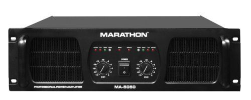 Marathon MA-5050 PRO Series Amplifier by Marathon. $877.49. * Output Power 8 (Ohms): 2 X 1200W* Output Power 4 (Ohms): 2 X 1900W* Output Power 2 (Ohms): 2 X 2500W* Output Power Bridge 8 (Ohms): 3600W* Output Power Bridge 4 (Ohms): 5000W* Frequency Response @ Half Power:15Hz - 25Khz (+0/-1Db)* Thd+Noise At 1Khz Full Power: 0.03%* Imd 60Hz & 7Khz 4:1: 0.038%* Signal To Noise Ratio: 102Db* Slew Rate (Input Filter Limited): 40V/Us* Damping Factor 1Khz@8 Ohm: 400:1* Input Sensit...