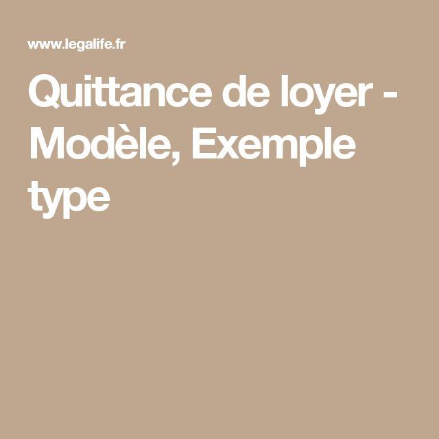 Quittance de loyer - Modèle, Exemple type