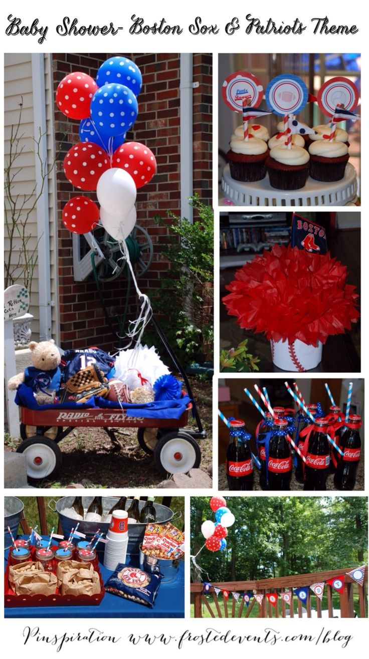 Baby Shower Ideas-  Boston Red Sox & Patriots Sports Theme baby shower by @frostedevents  Baby Boy Shower Ideas