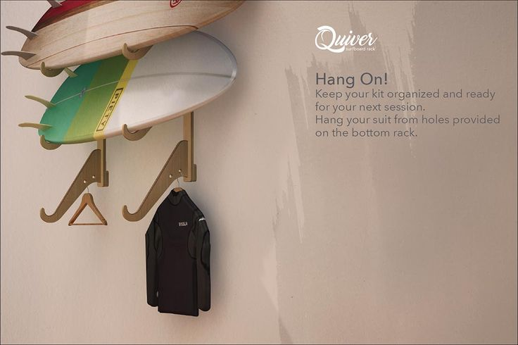 Surfboard Rack with hanger holes for Wetsuit and Fin bag