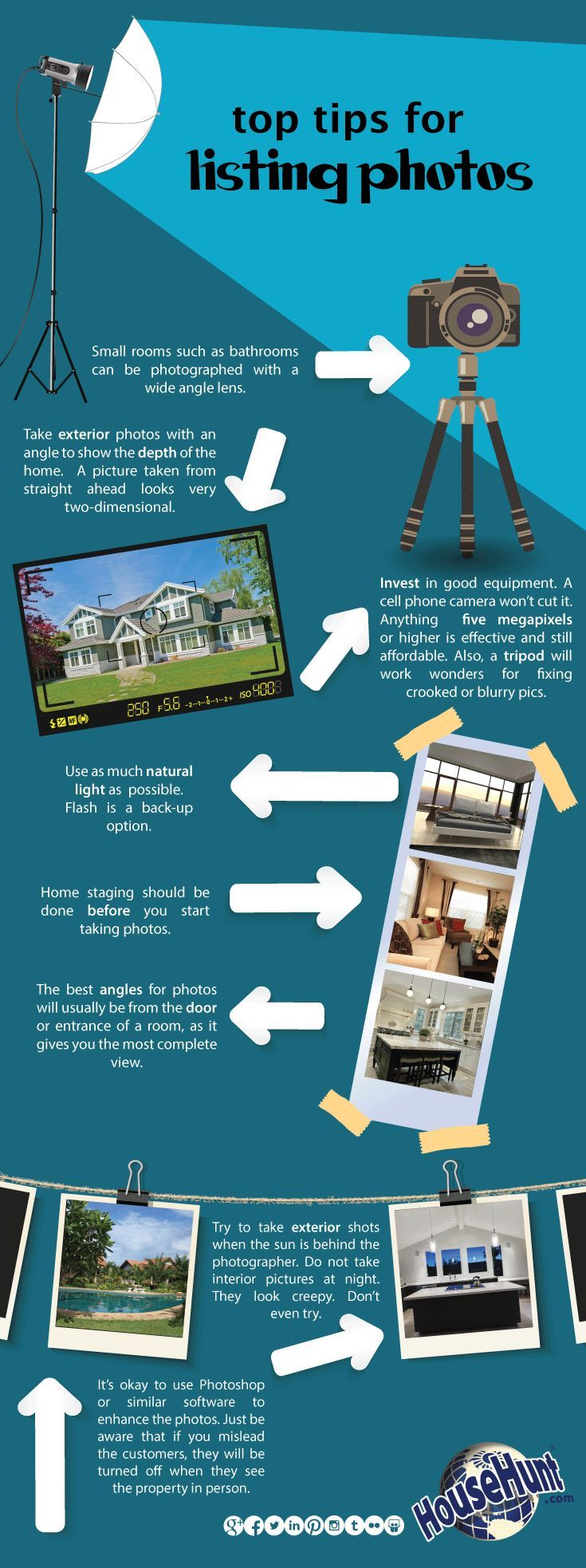 Top 8 Tips for Listing Photos #Infographic : http://www.blog.househuntnetwork.com/top-tips-for-listing-photos/