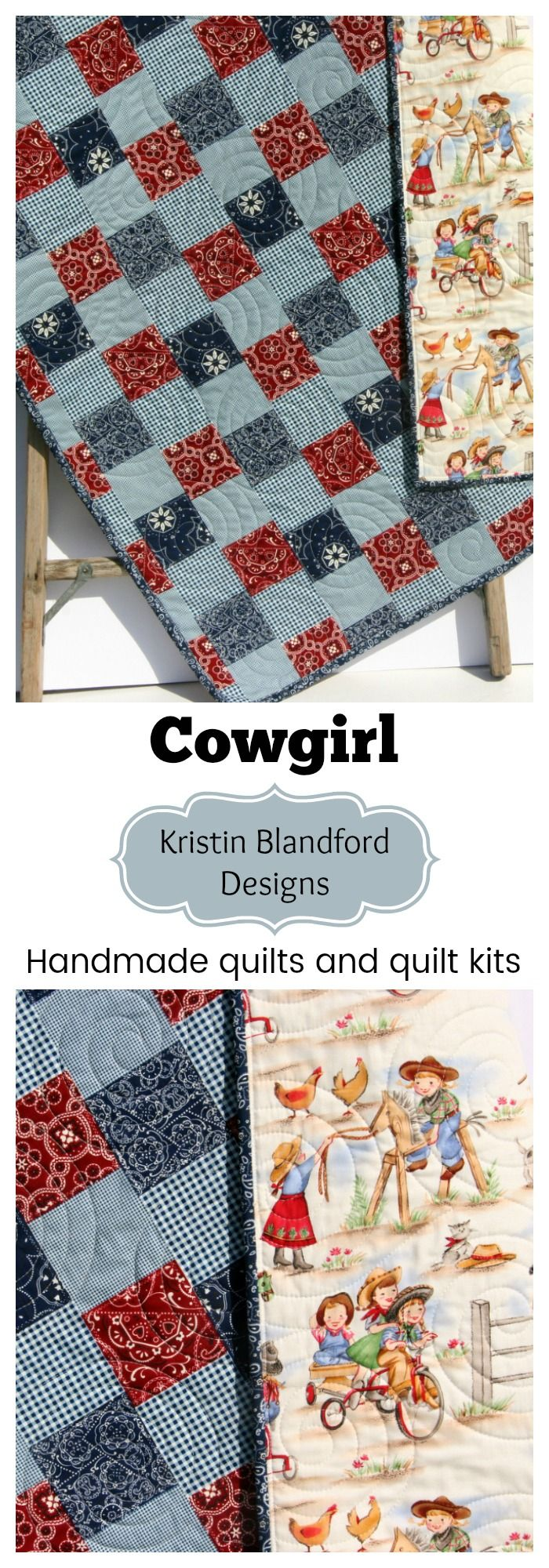 Handmade Western Baby Quilt, Toddler Quilt, Faux Patchwork Cheater Panel Quilt Kit, Baby Quilt Kit, Toddler Quilt Kit, Simple Quick Easy Sewing Quilting Project Western Cowboy Cowgirl Baby Bedding Nursery Blanket by Kristin Blandford Designs #babyquilts #handmadegift #babyshowergifts