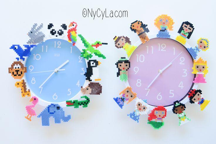 Horloge en perles chauffantes. Hama beads clock