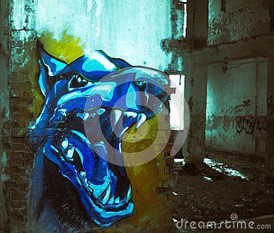 Graffiti in an abandoned house. Khabarovsk