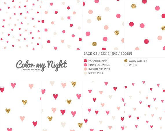 Digital Paper Pink 'Pack02' Gold Glitter & Pink by ColorMyNight