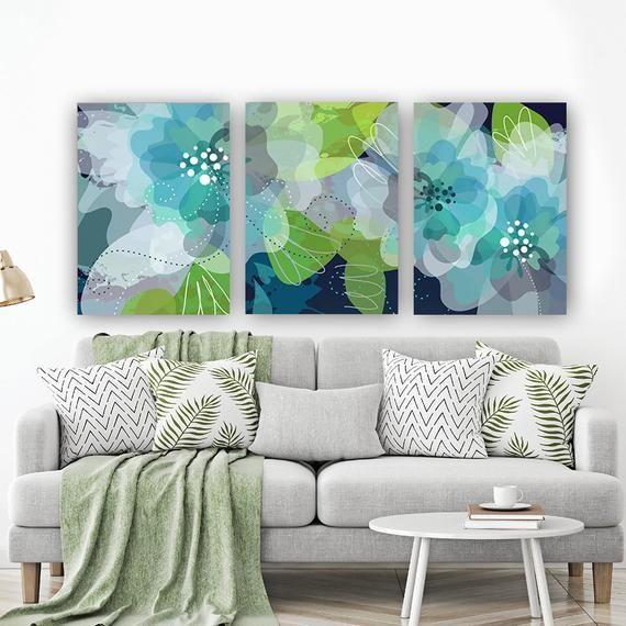Arte De La Pared De Flores Acuarela Arte Acuarela Flor Verde Azul Lona O Impresion Arte Flores De Flower Wall Art Bedroom Wall Art Green Bedroom Walls Decor