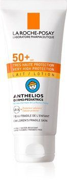 Anthelios Dermo-pediatrics LAIT SPF 50+ by La Roche-Posay. $30.00. Dermo-Pediatrics LAIT SPF 50+ is highly water-resistant and protects skin that is very fair and fragile from the sun.. Easy to apply fluid.. Resistant to sand and perspiration.. Extreme protection against UVA/UVB rays. Photostable UVA/UVB protection due to patented filters: Mexoryl SX and XL.. No perfumes, no paraben.. Ultra protection for children's fragile skin from UVA/UVB rays.  Imported from France UVA Ul...