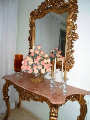 Aparador c/ Espelho Design Classico Imponente Marmore Rosa Rico em Detalhes…