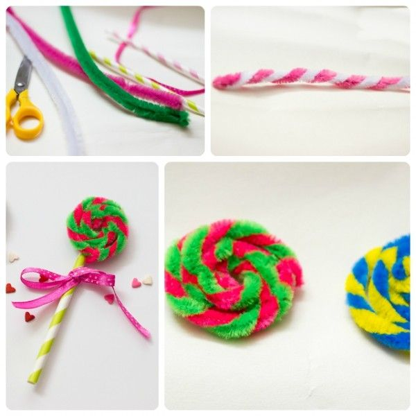 Chenille Stem lollipops... great for Candy Land or Willy Wonka themes.