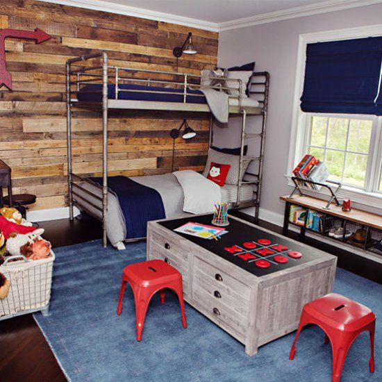 Check out this industrial-vintage boys room! (via Project Nursery)