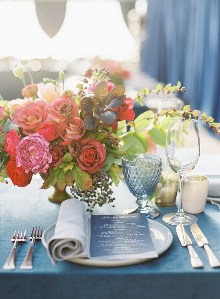 La Tavola Fine Linen Rental: Velvet Navy with Tuscany Natural Napkins | Photography: Michael Radford Photography, Event Planning: Twine Events, Floral Design: Flowerwild, Tabletop Rentals: The Ark Event Rentals, Rentals: Town and Country, Stationery: Jonathan Wright and Company