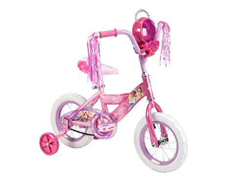 Huffy #22455 12 Inch Disney Princess bike in color Raspberry to Pink Fade. Disney Princess removable jewel case Huffy exclusive Princess tires and grips feature hearts and crowns to make every ride r...