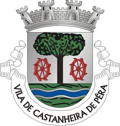 """Brasão de Castanheira de Pera - Heraldry of the World Civic heraldry of Portugal - Brasões dos municípios Portugueses Brasão De prata, com um castanheiro folhado e frutado de sua cor, saído de um terrado de verde, realçado de negro, cortado por três faixas ondadas de prata e de azul. O tronco do castanheiro acompanhado por dois rodízios de pás, em pala, de vermelho. Listel branco com os dizeres """"Vila de Castanheira de Pera"""", a negro. Coroa mural de quatro torres, de prata."""