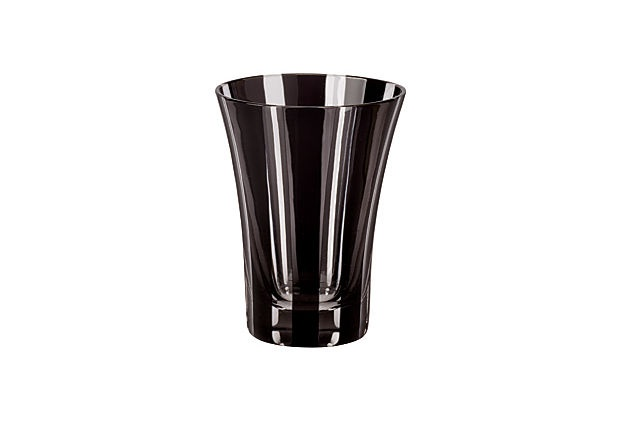 Palace Tumblers, Black, Set of 6 - Sleek and black with a subtle tulip flare, this glass tumbler is the perfect drinkware addition to your modern tabletop. Dishwasher safe; 9.5oz.