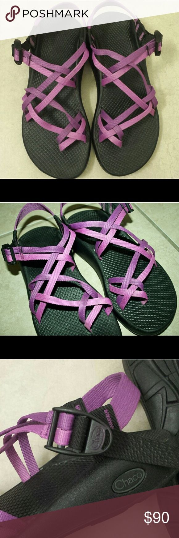 Women's Chacos sandals. Size 8 Beautiful Women's size 8 Chacos sandals. Purple and pink. Once worn once, they are two narrow for my feet. They are in amazing condition, absolutely no signs of wear. They are super cute, I'm sad they don't fit. Chacos Shoes Sandals