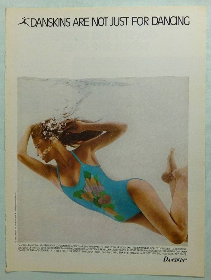 Danskin Swimwear. All ads are in overall nice condition and are originals salvaged from old magazines. Perfect for framing or just to add to your collection! Since most are 20, 30, or 40  years old and were pulled from used and read publications, some may have edge wear, slightly bent corners, wrinkling from being tightly bound in the magazine, an edge that needs trimmed, an 'old book' smell, and/or normal aging.   eBay!