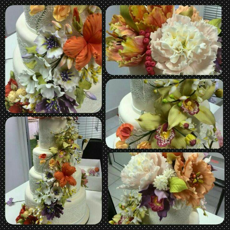 Wedding cake gum paste flowers