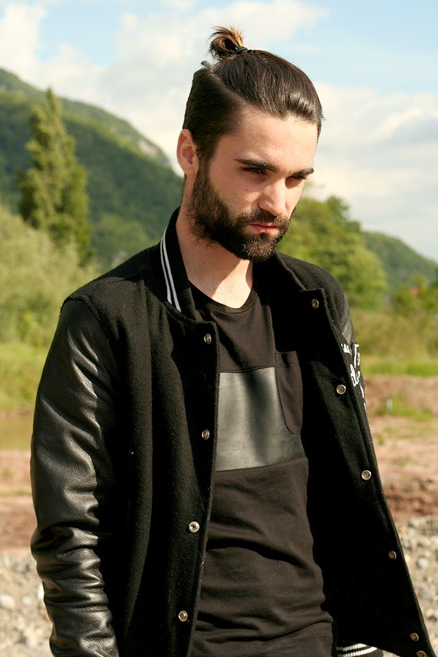 Men's casual autumn fashion. fall style. normcore. beauty. handsome. varsity jacket. letterman. black. neutral. monochrome. outfit. look. clothing. clothes. inspiration. topknot. haircut. hairstyle. modern. beard. man bun. mun.